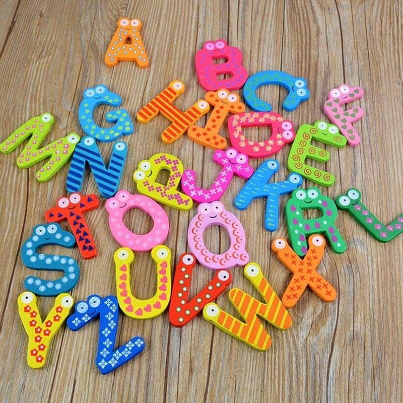 Baby Toys 26Pcs Letters Kids Wooden Alphabet Fridge Magnet ...