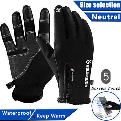 (-10℃ Ski Gloves Zipper Winter Sports Thermal Touch Waterproof Snowboard Skiing)
