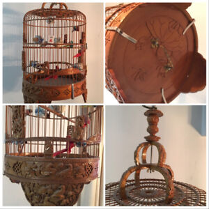 collectible Asian carved bamboo birdcage