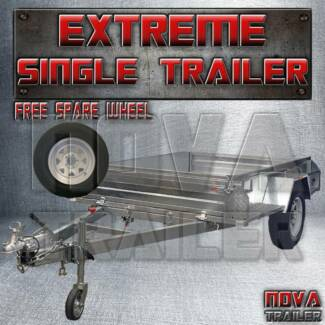 8x5 ☇ Extreme NOCAGE braked Galvanized new heavy duty TRAILER
