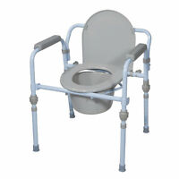 Drive Medical Folding Bedside Commode Seat with Commode Bucket