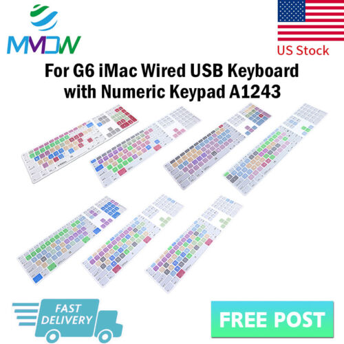 Hotkey Shortcuts Silicone Keyboard Cover for iMac Wired G6 N