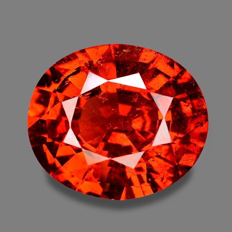Loose Gemstone Mandarin Red Spessartite Garnet Oval 3.23 cts Natural Gemstone