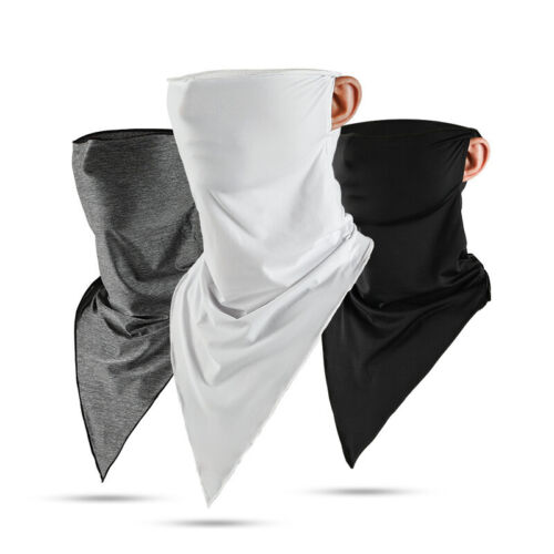 Ice Silk Scarf Breathable Outdoor Face Mask Black Bandana Neck Gaiter Women Mens Camping & Hiking