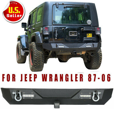 "Rear Bumper w/ LED Light &2"" Hitch Receiver D-ring for 87-06 Jeep Wrangler YJ TJ"