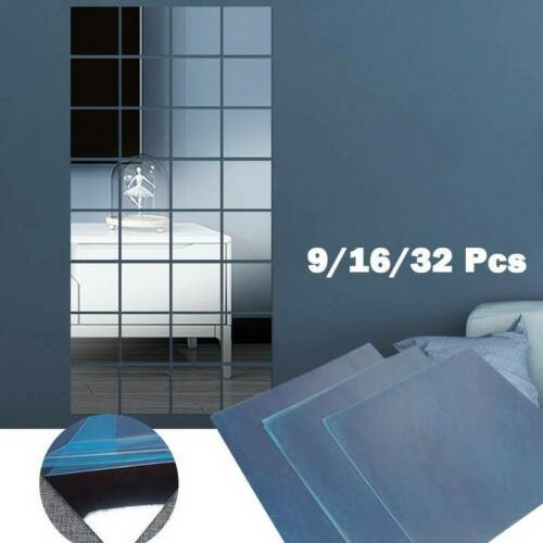 Home Decoration - 32* Glass Mirror Tiles Wall Sticker Square Self Adhesive Stick On Art Decor Home
