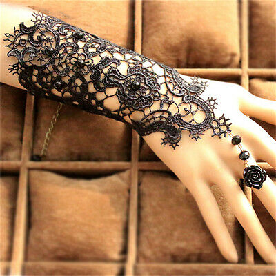 Wedding Black Pearl Damen Gothic Hand Spitze Rose Armband Ring Schmuck UE