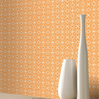 Wallpaper Rasch - Luxury Retro Geometric Design Pattern - White & Orange  (Orange Geometric Wallpaper)