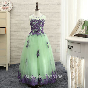 new Green  and Purple Girls Pageant Dresses