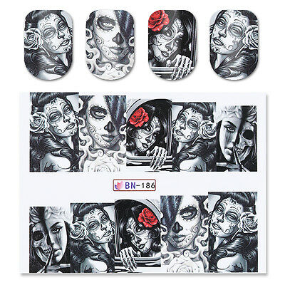 2x Nail Art Water Decal Transfer Stickers Skull Lady Halloween Manicure - Nail Art X Halloween