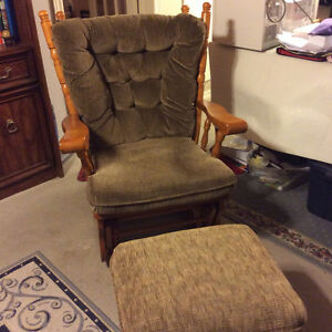 Glider Rocker with glider foot stool
