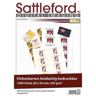 Sattleford 1000 Visitenkarten microperforiert Inkjet&Laser 250g/85x55