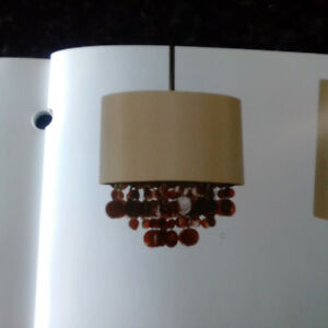 CHANDELIER, FABRIC SHADE WITH DECORATIVE HANGING SHELL