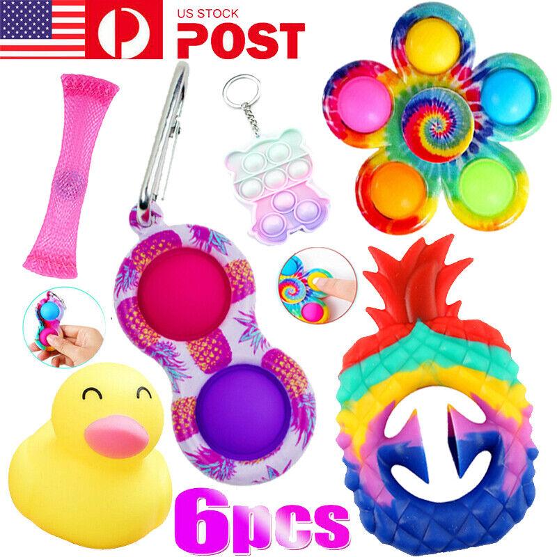 6Pack Fidget Toys Set Autism Stress Relief Gifts Bubble Popet Game Tools Bundle!