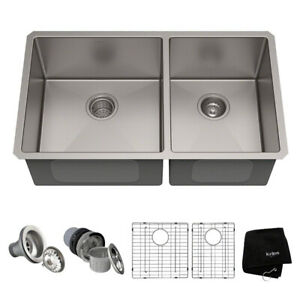 Kraus KHU103-33 33 inch Undermount Double Bowl Kitchen Sink