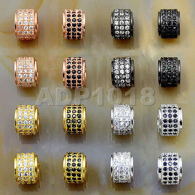Zircon 3 Rows Gemstone Rondelle Spacer Connector Charm Beads 6x7mm  (Row Spacer)