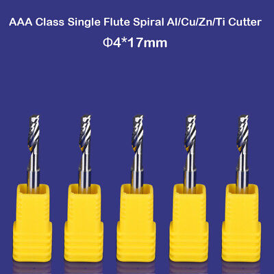 5pc Hq Aluminum Cu Cutting Endmill Single Flute Spiral Cnc Router Bit 4mm X 17mm