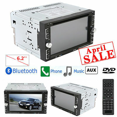"""Bluetooth Car Stereo DVD CD Player 6.2"""" Double 2Din Radio iPod SD/USB In-Dash HD"""