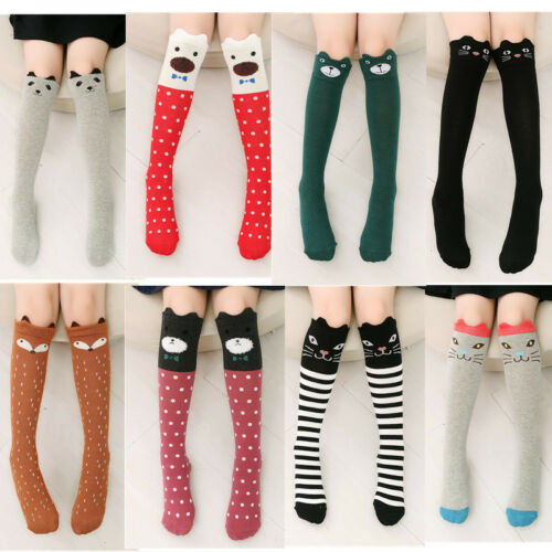 Kids Girls 3D Cartoon Socks Cute Animals Cat Knee High Long