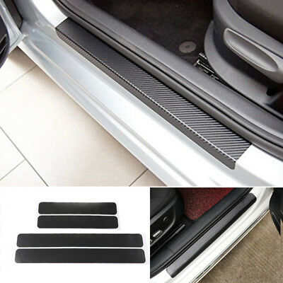 4PCS Accessory 3D Carbon Fiber  Car Plate Door Sill Scuff Plate Cars Sticker