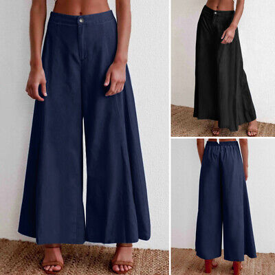 Women Denim Wide Leg Jeans Pant Casual Baggy Palazzo Long Tr