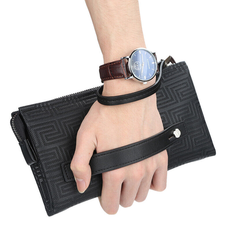 Multi-function Mens Leather Clutch Wallet Business Zipper Card Checkbook Handbag Bags