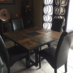 SLATE DINING ROOM TABLE AND 4 CHAIRS
