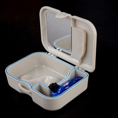 1 Pc Plastic Denture Storage Box False Teeth Case With Mirror And Brush