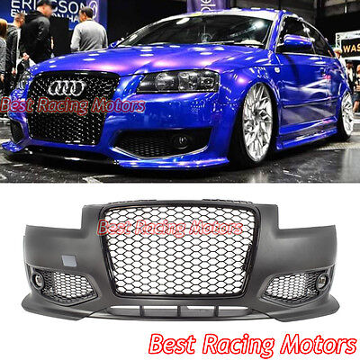 RS3 Style Front Bumper  Black Grill  Lip  Glass Fog Fit 06 08 Audi A3 S3 8P