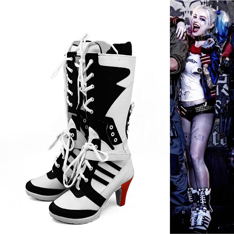 Suicide Squad Harley Quinn Boots Shoes Women Cosplay Prop Accessories