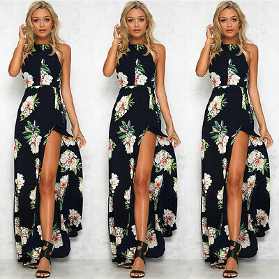 New Women Ladies Floral Print Boho Evening Party Long Maxi Dress Black S chc07
