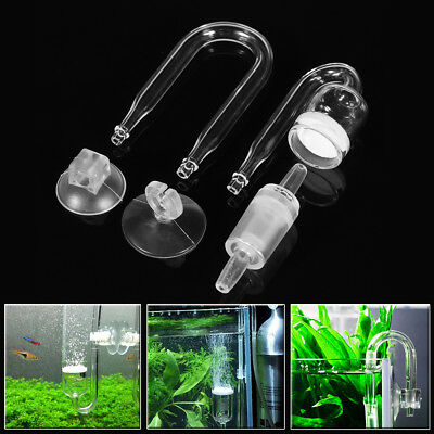 Fish Tank Aquarium CO2 Diffuser Check Valve U Shape Glass Tube Suction Cup Kit