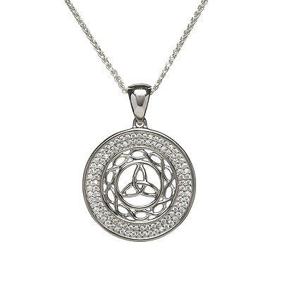 Sterling Silver Celtic Trinity Knot Pendant with CZ Irish  Made by BORU Ireland