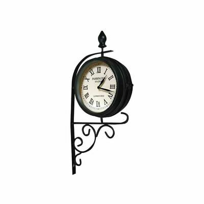 Home Garden Victorian Railway Station Style Double Sided Rotating Clock Vintage