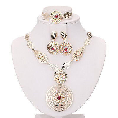 Sales Cheap Red Plated Costume Fashion Women Necklace Earring Ring Jewellery Set](Cheap Halo Costume)