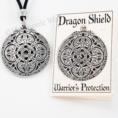 RUNE DRAGON Pendant amulet Necklace RUNIC SHIELD Celtic Knot work Protective