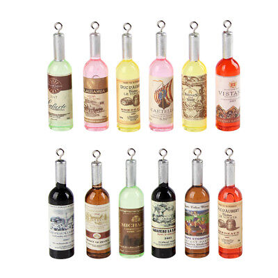 12x Mixed Color Acrylic Wine Bottle Charm Pendant Fit DIY Jewelry Making - Wine Bottle Jewelry