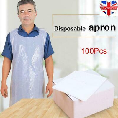100PCS White Waterproof Body Protection Plastic Disposable High Density Apron UK