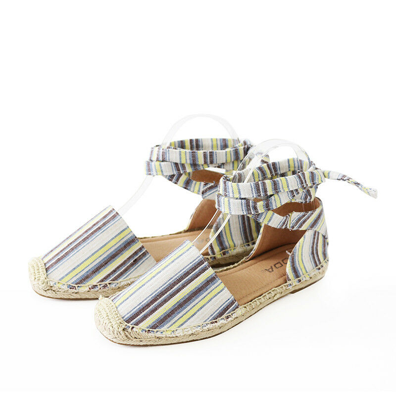 Vacation Vibe Linen Stripe Ankle Tie Espadrille Flat Sandal