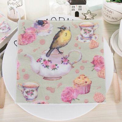 Vintage Table Napkins Paper Tissue Tea Cup Decoupage Servilletas Wedding Party](Table Napkins Paper)