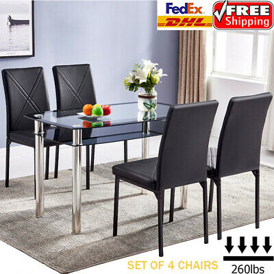 Set of 4 Leather Dining Chairs Living Room Kitchen High Back Chair Padded Seat