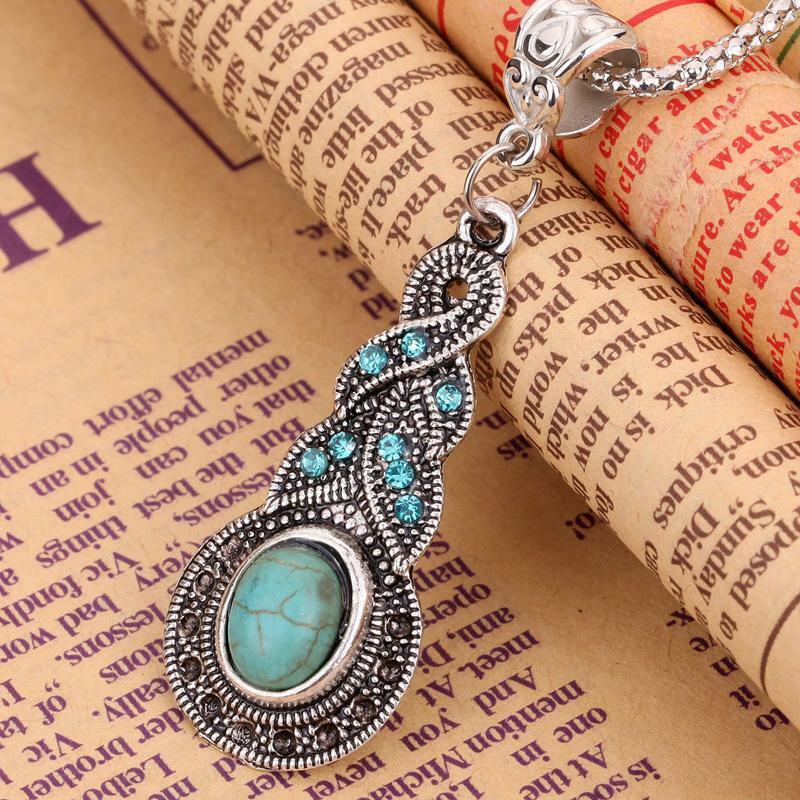 New Tibetan Silver Blue Turquoise Chain Crystal Pendant Necklace Fashion Jewelry