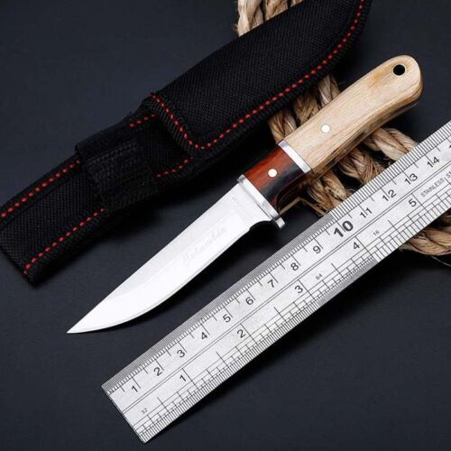 6 Tactical Straight Pocket Hunting Survival Fixed Blade Knife EDC With Sheath