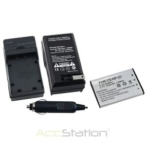 NP-20 Battery + Charger For Casio Exilim EX-Z75 EX-S600