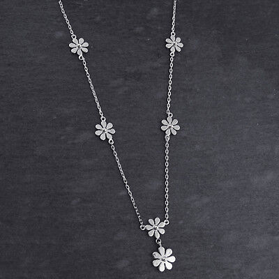 Flower Y Necklace - 925 Sterling Silver - Flowers Lariat Gift Dangling Girl NEW