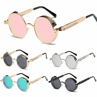 Vintage Retro Steampunk Sunglasses Goggle Classic Fashion Round Designer (Round Mens Sunglasses)