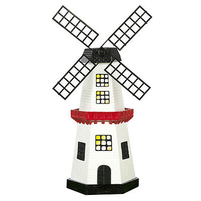 solarzauber Windmühle mit Solar LED Beleuchtung für Garten Leuchte Deko Garten