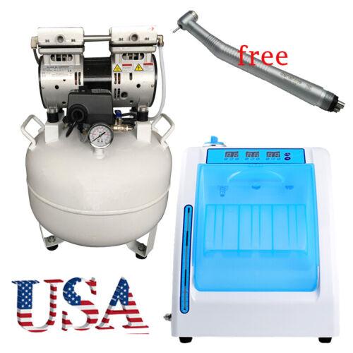Dental silent Oilless Air Compressor 40L w handpiece oiling lubrication machine