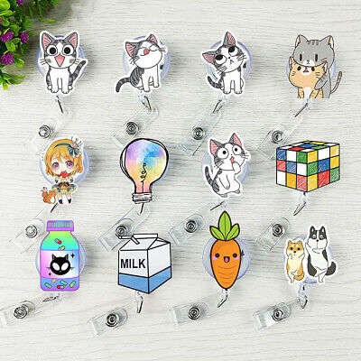Animal With Womens (Retractable Badge Name Card Holder with Clip ID Reel Cute Cartoon Animal)