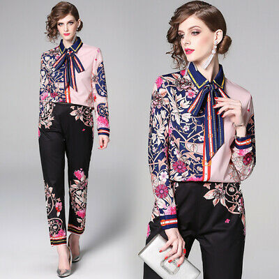 2019 Spring Summer 2PCS Women Sets Floral Print Shirt Blouse Pant Suits Outfits - Suits Outfits
